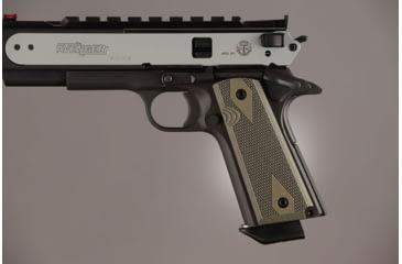 Hogue Govt. Model 9/32 Thick Checkered G-10 - OD Green Camo 01458