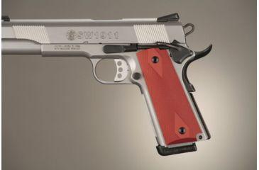 Hogue Govt. Model Checkered Aluminum - Matte Red Anodized 45172