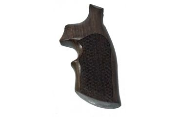 Hogue K or L Frame Revolver Round Butt Conver. Rosewood Top Finger Groove Checkered Grip 19953