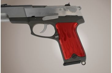 Hogue Ruger P85 P91 Flames Aluminum Red Anodized 85132