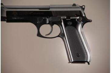 Hogue Taurus PT-99 PT-92 PT-100 PT-101 Safety Only Checkered Aluminum - Brushed Gloss Black Anodized 99156