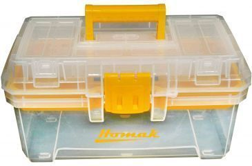 Homak 15in Plastic Transparent Hand Carry Toolbox w/ Removable Tray TP00115088
