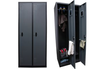 Homak 2 Tall Door steel Locker, Gray/Black GS00700201