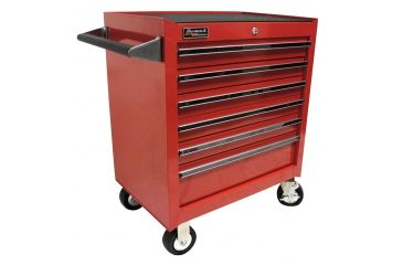 Homak 27in Professional Rolling Cabinet w/ 6 Drawers, Red RD04062601