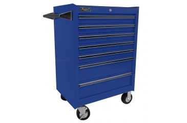 Homak 27in Professional Rolling Cabinet w/ 7 Drawers, Blue BL04072601
