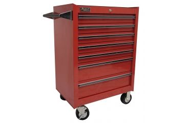 Homak 27in Professional Rolling Cabinet w/ 7 Drawers, Red RD04072601