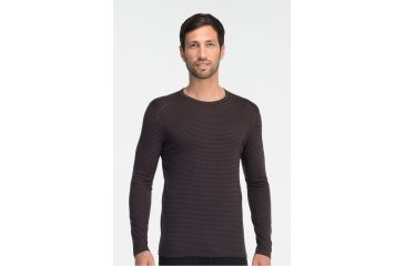 4b55ef0f4486 Icebreaker Oasis Long Sleeve Striped Crew Top - Men's-Walnut Overdye-Large