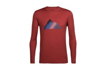 e1813adc1d Icebreaker Tech Lite Long Sleeve Crewe Seven Summit Stack, Vintage Red, L,  104121601L