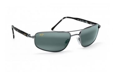Maui Jim Kahuna Sunglasses w/ Gunmetal Frame and Neutral Grey Lenses - 162-02, Quarter View