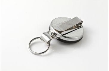Key-Bak 5BH Retractable Reel w/ 24in Stainless Steel Chain, Black Front, Steel Belt Clip, Split Ring, Huskey Key Hook 0005-103