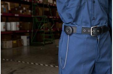 Key-Bak 5BS Retractable Reel w/ 24in Stainless Steel Chain w/ 12in Extension, Black Front, Steel Belt Clip, Split Ring 0005-906