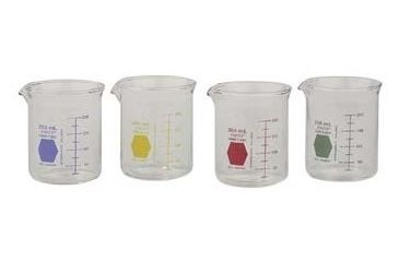Kimble/Kontes KIMAX Color-Coded Griffin Beakers, Double Scale, Borosilicate Glass, Kimble Chase 14000R 600 Raging Red Graduations