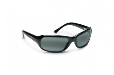 Maui Jim Lagoon Sunglasses w/ Gloss Black Frame and Neutral Grey Lenses - 189-02, Quarter View