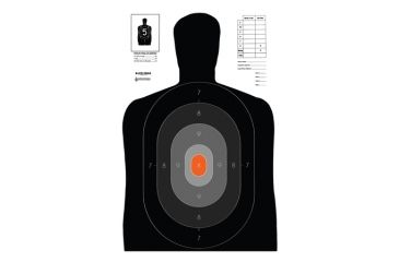 Law Enforcement Targets B-27E PROS Dark-to-Light Silhouette 23x35 Inch Black/Gray/Orange 100 Per Case