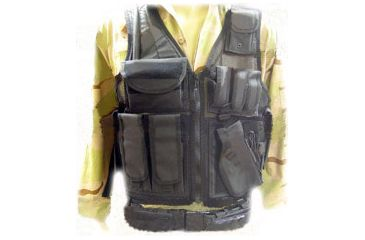 Leapers Deluxe Tactical Vest with Quick Draw Holster, Pouch and Belt-XXLarge Black PVC-V647BT