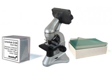 Levenhuk D70L Digital Biological Microscope, Silver, with Blank Slides and Cover Slips Set