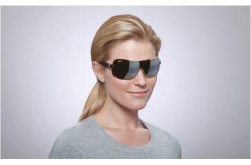 Maui Jim Maka Sunglasses w/ Gold Frame and HCL Bronze Lenses - H513-16, On Model