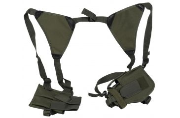Global Military Gear Shoulder Tactical Holster w/ Double Mag Pouch, Black