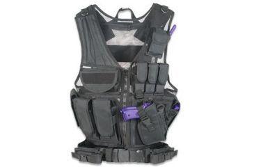 Global Military Gear Tactical Vest - Left Handed - Black, Black GM-TV1L