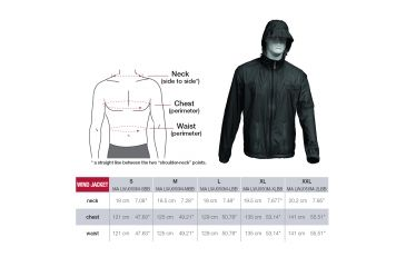 Manfrotto Male Lino Pro Windjacket Fitting Chart