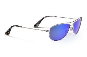161737ec83 Maui Jim Baby Beach Sunglasses, Silver Frame, Blue Hawaii Lens, Polarized,  B245