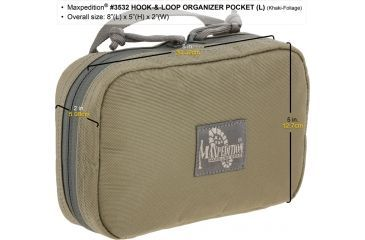 Maxpedition Hook-and-Loop Organizer Pocket, Large, Khaki-Foliage, Khaki-Foliage 3532KF