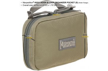 Maxpedition Hook-and-Loop Organizer Pocket, Small, Khaki-Foliage, Khaki-Foliage 3531KF