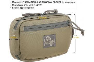 Maxpedition Modular Two Way Pocket, Large, Khaki-Foliage, Khaki-Foliage 3534KF