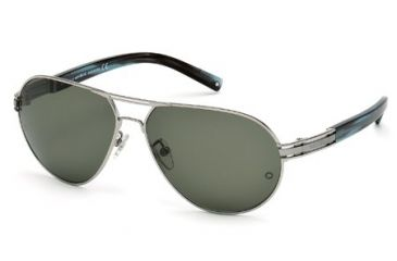 Mont Blanc MB401S Sunglasses - Shiny Light Ruthenium Frame Color, Green Lens Color