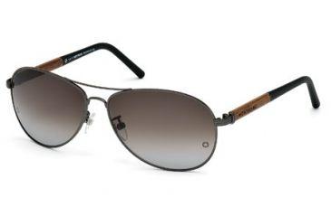 Mont Blanc MB409S Sunglasses - Matte Gun Metal Frame Color, Gradient Green Lens Color