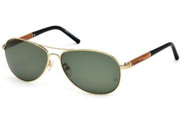 Mont Blanc MB409S Sunglasses - Shiny Rose Gold Frame Color, Green Polarized Lens Color