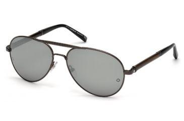 Mont Blanc MB458S Sunglasses - Shiny Gun Metal Frame Color, Smoke Mirror Lens Color