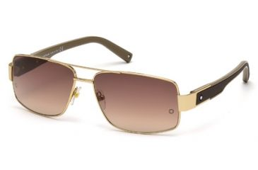Mont Blanc MB460S Sunglasses - Shiny Rose Gold Frame Color, Gradient Brown Lens Color
