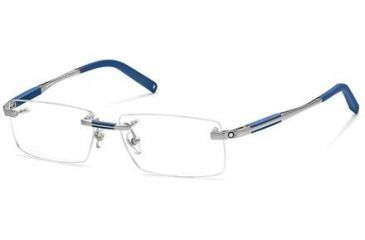 Montblanc MB0349 Eyeglass Frames - Shiny Light Ruthenium Frame Color