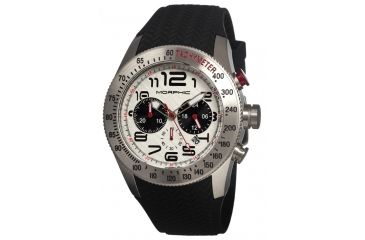 Morphic 0701 M7 Series Mens Watch, White Dial w/ Black Silicone Band, Stainless Steel Case MPH0701