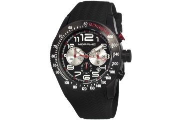 Morphic 0704 M7 Series Mens Watch, Black Dial w/ Black Silicone Band, Black Stainless Case MPH0704
