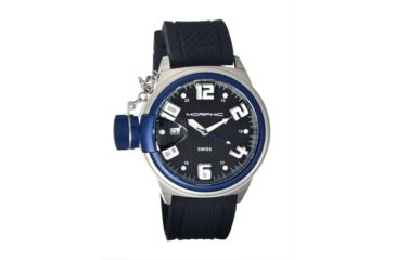 Morphic M24 Series Watch,Black Silicone Band, Blue Bezel,Black Analog Dial,Strap Buckle MPH2405