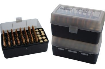 MTM Case-Gard 50 Rifle Ammo Boxes .22-250 To .308 Clear Green/Black