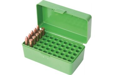 MTM Case-Gard 50 Rifle Ammo Boxes .22-250 to .308 Clear Red RM-50-29