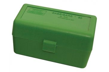 MTM Case-Gard 50 Rifle Ammo Boxes .220 Swift To .458 Winchester Mechanical Hinge Clear Green/Black