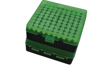 MTM P-100 Fliptop Box .41-.44 Magnum/.45 Auto Clear Green/Black