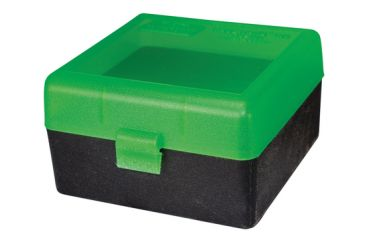 MTM RS-100 Rifle Ammo Box .17 To .222 Magnum Clear Green/Black