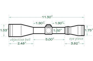 Mueller Optics 2-7x32mm Multi-Shot Riflescope MU2732IGR Dimensions