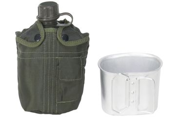 Mustang O.D. Fabric Covered Canteen, 1 Qt., w/Aluminum Cup FP13629