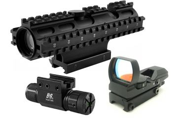 NcStar 2-7x32mm Compact RifleScope Kit 3 - Rangefinder Reticle w/ Green Laser and Red Dot Sight
