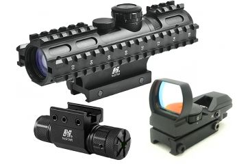 NcStar 3-9x42mm Illuminated 3RS RifleScope Kit 2 - P4 Sniper Reticle w/ Green Laser and Red Dot Sight