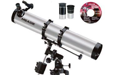 Meade 114EQ-AR 114mm Telescope 4.5in Equatorial Reflector with Red Dot Finder Scope, Full-Size Tripod, 2 Eyepieces, Meade Autostar Suite Software 04067