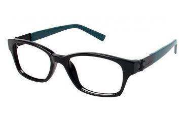 Nicole Miller Centre Progressive Prescription Eyeglasses - Frame BLACK/TEAL, Size 50/16mm NMCENTRE01