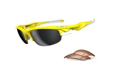 Oakley Fast Jacket Asian Fit Lemon Peel Frame w/ Black IridiumPolarized r Lenses Sunglasses OO9162-08
