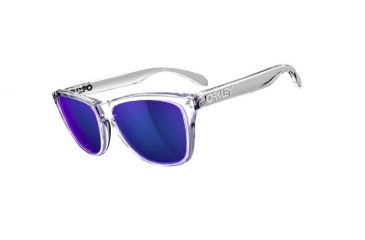 Oakley Frogskins Sunglasses, Polished Clear Frame, Violet Iridium Lens 24-305